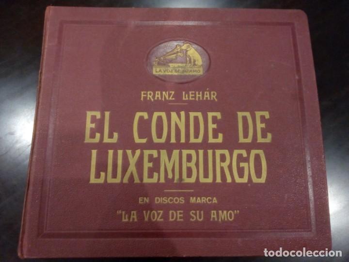 ESTUCHE DE DISCOS DE PIZARRA -EL CONDE DE LUXEMBURGO (FRANZ LEHÁR)- LA VOZ DE SU AMO (Música - Discos - Pizarra - Clásica, Ópera, Zarzuela y Marchas)