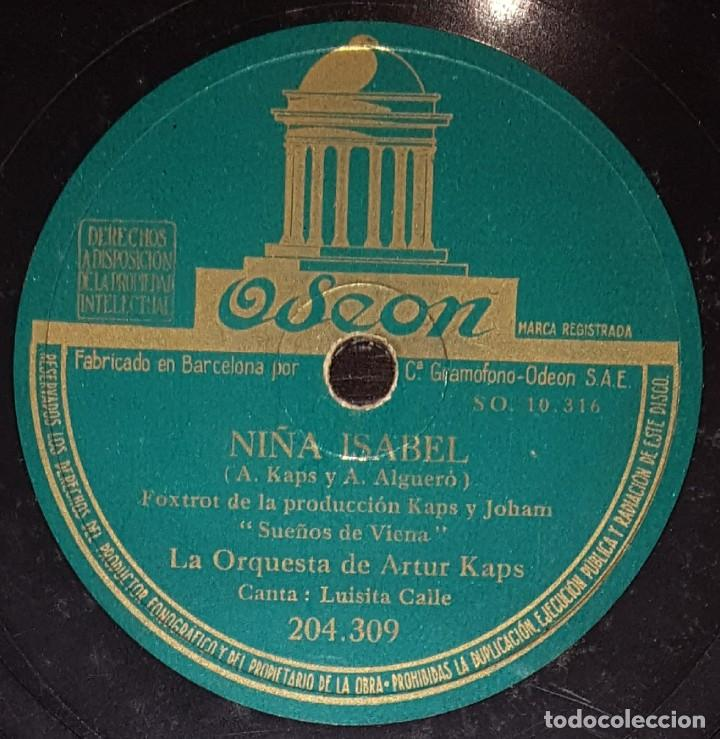 DISCOS 78 RPM - LUISITA CALLE - ORQUESTA DE ARTUR KAPS - SUEÑOS DE VIENA - FOXTROT - PIZARRA (Música - Discos - Pizarra - Solistas Melódicos y Bailables)