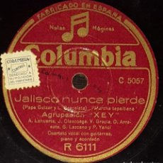 Discos de pizarra: DISCOS 78 RPM - AGRUPACIÓN XEY - MARCHA TAPAITIANA - JALISCO NUNCA PIERDE - CORRIDO - PIZARRA. Lote 138574894