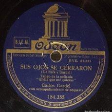 Discos de pizarra: DISCOS 78 RPM - CARLOS GARDEL - TANGO - FILM - EL DÍA QUE ME QUIERAS - GUITARRA MIA - PIZARRA. Lote 139264026