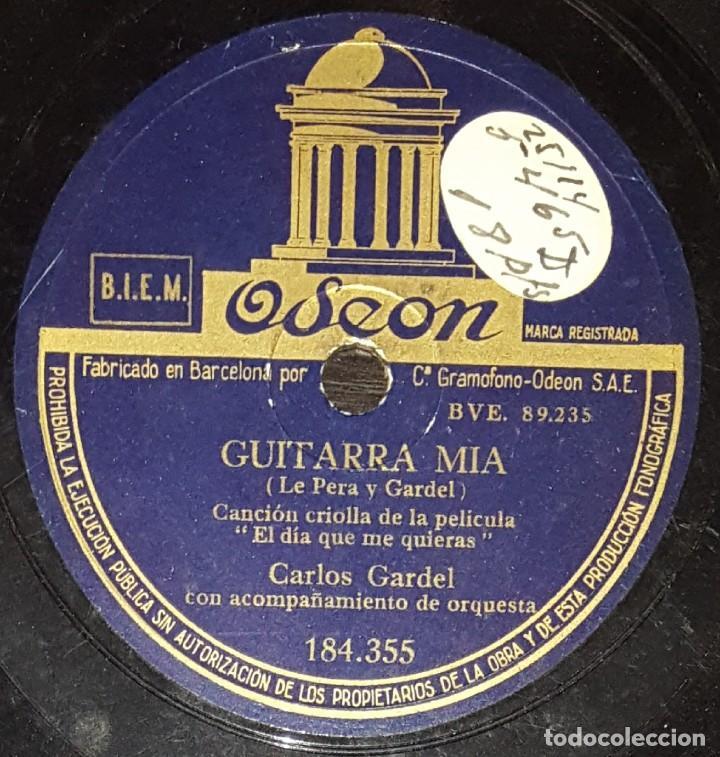 Discos de pizarra: DISCOS 78 RPM - CARLOS GARDEL - TANGO - FILM - EL DÍA QUE ME QUIERAS - GUITARRA MIA - PIZARRA - Foto 2 - 139264026