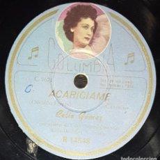 Discos de pizarra: DISCOS 78 RPM - CELIA GÁMEZ - ORQUESTA - FOTO ETIQUETA - ACARÍCIAME - SAMBA - ESPAÑOLA - PIZARRA. Lote 139264778
