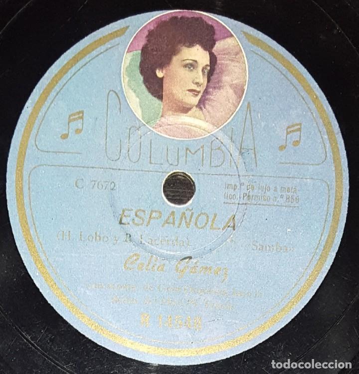 Discos de pizarra: DISCOS 78 RPM - CELIA GÁMEZ - ORQUESTA - FOTO ETIQUETA - ACARÍCIAME - SAMBA - ESPAÑOLA - PIZARRA - Foto 2 - 139264778