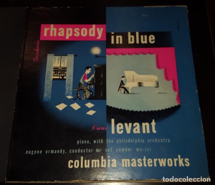 DISCOS 78 RPM - OSCAR LEVANT - PIANO - ALBUM - 2 DISCOS - 12 PULGADAS - RHAPSODY IN BLUE - PIZARRA (Música - Discos - Pizarra - Solistas Melódicos y Bailables)