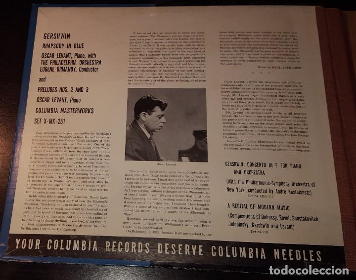 Discos de pizarra: DISCOS 78 RPM - OSCAR LEVANT - PIANO - ALBUM - 2 DISCOS - 12 PULGADAS - RHAPSODY IN BLUE - PIZARRA - Foto 2 - 139322186