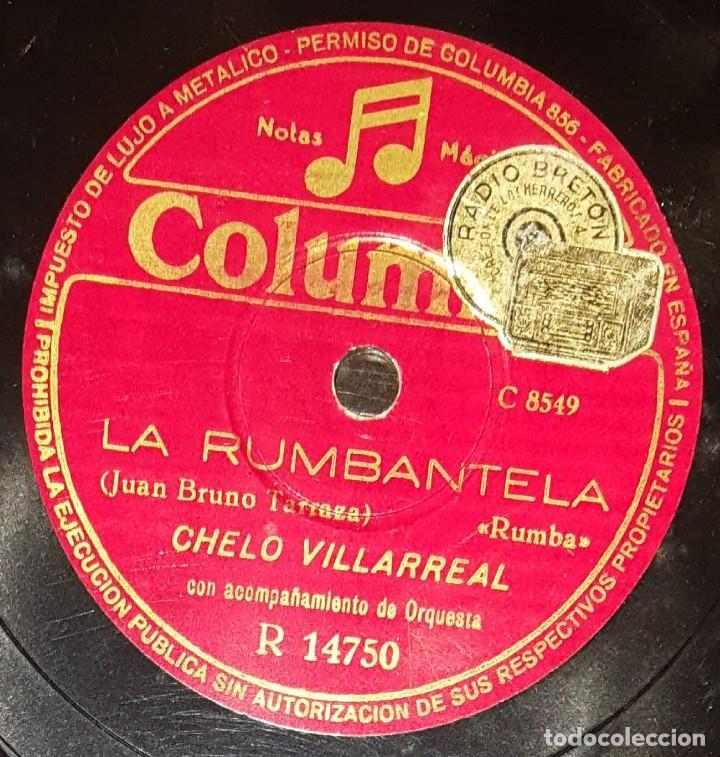 DISCOS 78 RPM - CHELO VILLARREAL - ORQUESTA - BAILE POPULAR - LA RASPA - LA RUMBANTELA - PIZARRA (Música - Discos - Pizarra - Flamenco, Canción española y Cuplé)