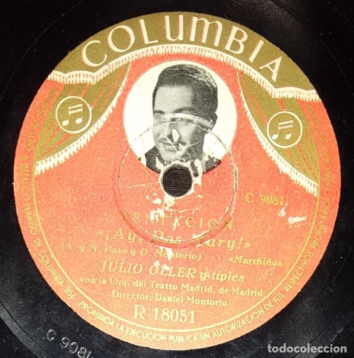 DISCOS 78 RPM - JULIO OLLER - Mª DE LOS ÁNGELES SANTANA - ORQUESTA - TENTACIÓN - PIZARRA (Música - Discos - Pizarra - Flamenco, Canción española y Cuplé)