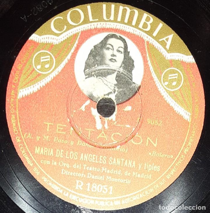 Discos de pizarra: DISCOS 78 RPM - JULIO OLLER - Mª DE LOS ÁNGELES SANTANA - ORQUESTA - TENTACIÓN - PIZARRA - Foto 2 - 139881838