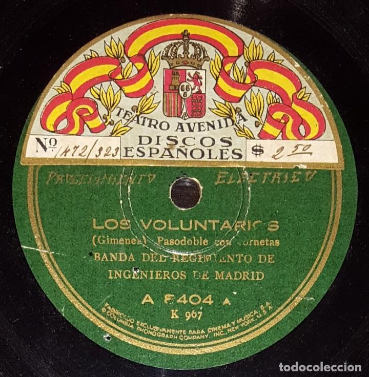 DISCOS 78 RPM - BANDA REGIMIENTO INGENIEROS DE MADRID - LOS VOLUNTARIOS - ESPAÑA CAÑÍ - PIZARRA (Música - Discos - Pizarra - Clásica, Ópera, Zarzuela y Marchas)