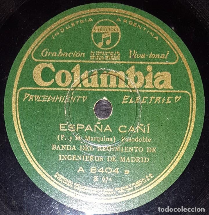 Discos de pizarra: DISCOS 78 RPM - BANDA REGIMIENTO INGENIEROS DE MADRID - LOS VOLUNTARIOS - ESPAÑA CAÑÍ - PIZARRA - Foto 2 - 139890038