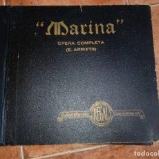 Disques en gomme-laque: MARINA ALBUM CON 12 DISCOS DE PIZARRA REGAL OPERA COMPLETA EMILIO ARRIETA MERCEDES CAPSIR . Lote 139935006