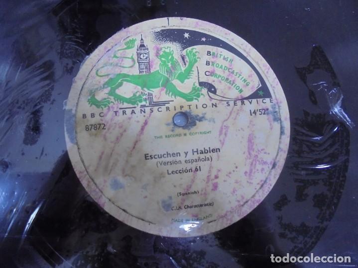 Discos de pizarra: DISCO. GRAN TAMAÑO. BRITISH BROADCASTING CORPORATION. ESCUCHEN Y HABLEN. LECCION 61 Y 62. VER - Foto 2 - 140072214