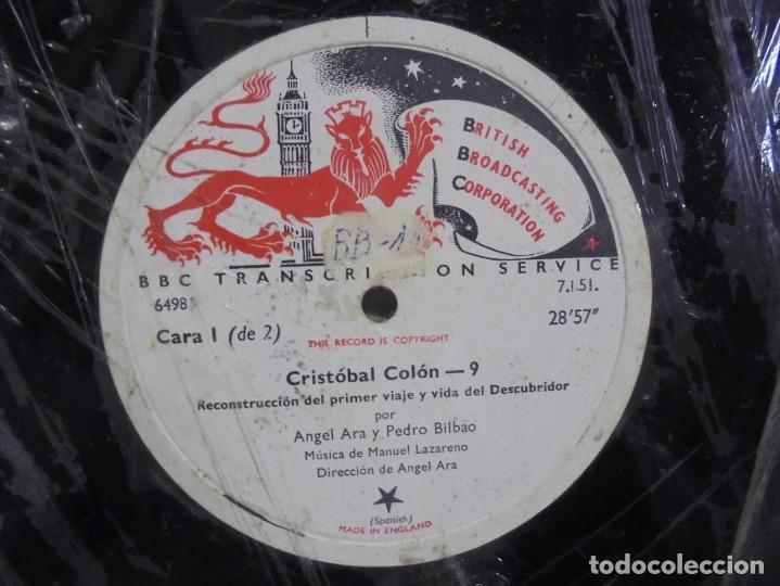 Discos de pizarra: DISCO. GRAN TAMAÑO. BRITISH BROADCASTING CORPORATION. CRISTOBAL COLON 9 Y 10. VER - Foto 3 - 140072442