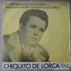 Discos de pizarra: CHIQUITO DE LORCA - A LOS BUENOS CANTAORES FANDANFOS FLAMENCO. Lote 140732246