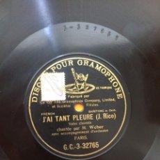 Discos de pizarra: DISCO DE PIZARRA M. WEBER J' AI TANT PLEURE // LES CLOCHES (A. FOCK). Lote 141783026