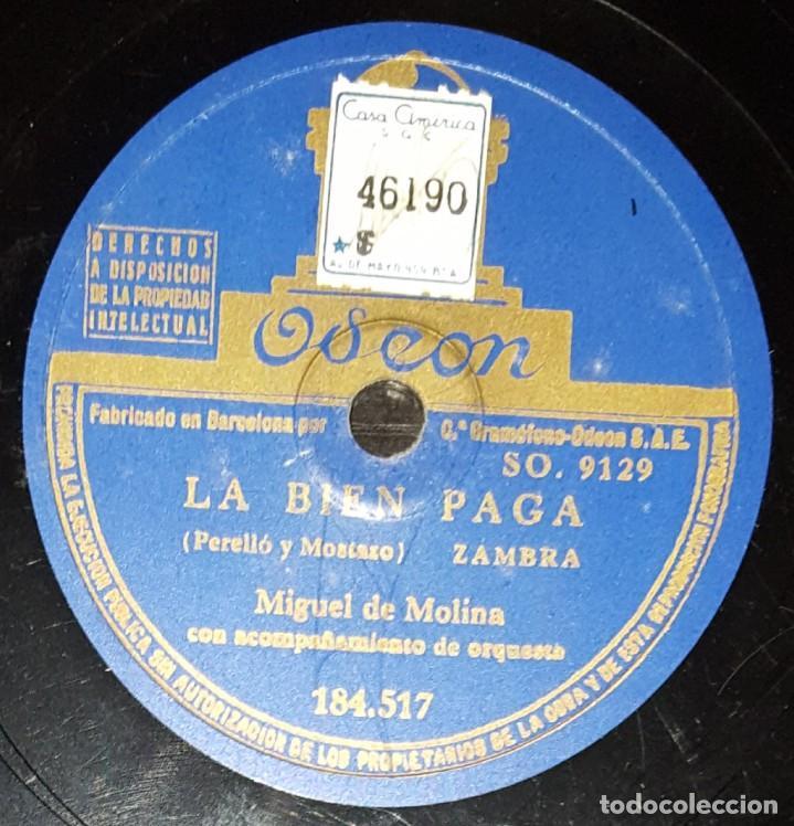 Discos de pizarra: DISCOS 78 RPM - MIGUEL DEL MOLINA - ORQUESTA - ZAMBRA - OJOS VERDES - LA BIEN PAGÁ - PIZARRA - Foto 2 - 142386454