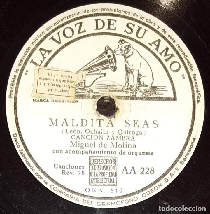Discos de pizarra: DISCOS 78 RPM - MIGUEL DEL MOLINA - ORQUESTA - FOLKLORE CASTELLANO - ZAMBRA - MALDITA SEAS - PIZARRA - Foto 2 - 142388430