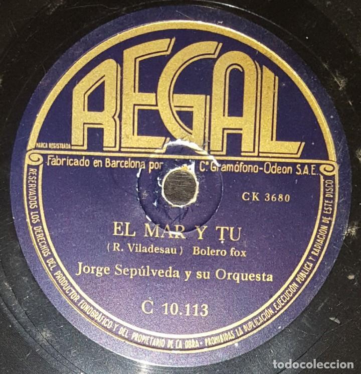 Discos de pizarra: DISCOS 78 RPM - JORGE SEPÚLVEDA - ORQUESTA - BOLERO - DIEZ AÑOS - EL MAR Y TÚ - PIZARRA - Foto 2 - 142389814