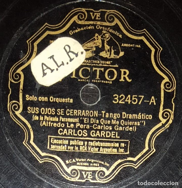 DISCOS 78 RPM - CARLOS GARDEL - TANGO - PELÍCULA - EL DÍA QUE ME QUIERAS - GUITARRA MIA - PIZARRA (Música - Discos - Pizarra - Flamenco, Canción española y Cuplé)