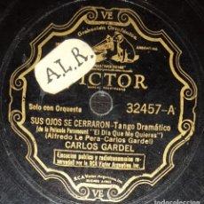 Discos de pizarra: DISCOS 78 RPM - CARLOS GARDEL - TANGO - PELÍCULA - EL DÍA QUE ME QUIERAS - GUITARRA MIA - PIZARRA. Lote 142394862