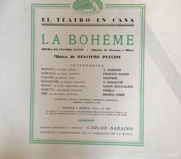 Discos de pizarra: EXCEPCIONAL OPERA COMPLETA LA BOHÈME DE GIACOMO PUCCINI, 13 DISCOS DE PIZARRA LA VOZ DE SU AMO - Foto 3 - 143294078