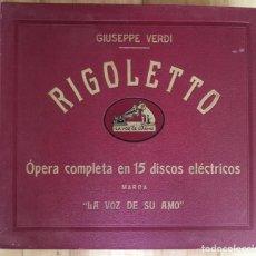 Discos de pizarra: EXCEPCIONAL OPERA COMPLETA RIGOLETTO DE GIUSEPPE VERDI, 15 DISCOS DE PIZARRA LA VOZ DE SU AMO. Lote 143300302