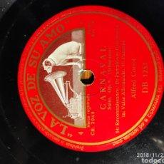 Discos de pizarra: DISCO PIZARRA. ALFRED CORTOT. CARNAVAL. Lote 143564289