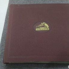 Discos de pizarra: CARPETA 12 DISCOS DE PIZARRA LA VOZ DE SU AMO EN ESPAÑOL GRAMÓFONO GRAMOLA. Lote 143644421