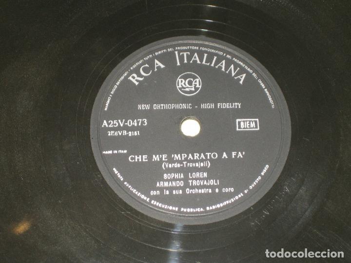 Discos de pizarra: SOPHIA LOREN - PIEZA UNICA EN PIZARRA - CANTA EN ITALIANO E INGLES - PERFECTO ESTADO - Foto 2 - 145936350