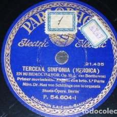 Discos de pizarra: 6 DISCOS 78 RPM - PARLOPHON - STAATS-OPERA BERLIN - HEROICA - MAX SCHILLINGS - BEETHOVEN - PIZARRA. Lote 146209694