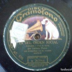 Discos de pizarra: CARMEN FLORES. LA DEL ORDEN SOCIAL + A LA TIENTA. Lote 146210398