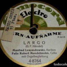 Discos de pizarra: DISCO 78 RPM - HOMOCORD - LEWANDOWSKI & MENDELSSOHN - HANDEL - PIZARRA. Lote 146220046