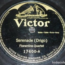 Discos de pizarra: DISCO 78 RPM - VICTOR - FLORENTINE QUARTET - SERENADE - TOLLEFSEN TRIO - AT THE BROOK - PIZARRA. Lote 146222154
