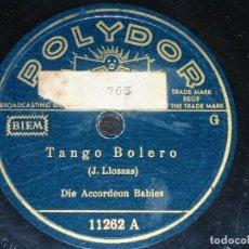 Discos de pizarra: DISCO 78 RPM - POLYDOR - DIE ACCORDEON BABIES - ACORDEON - ESPAÑA CAÑI - TANGO BOLERO - PIZARRA. Lote 146227990