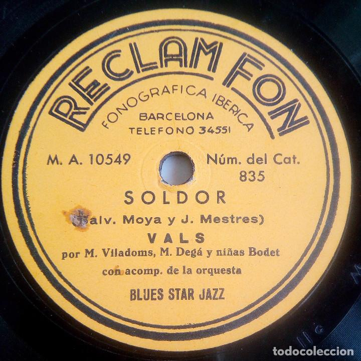 DISCO DE PIZARRA - PUBLICITARIO - RECLAM FON - SOLDOR - VALS - BLUE STAR JAZZ - RARÍSIMO (Música - Discos - Pizarra - Jazz, Blues, R&B, Soul y Gospel)