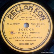 Discos de pizarra: DISCO DE PIZARRA - PUBLICITARIO - RECLAM FON - SOLDOR - VALS - BLUE STAR JAZZ - RARÍSIMO. Lote 146416934