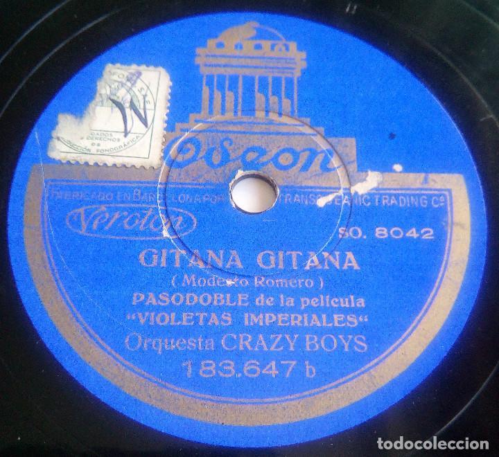 DISCO DE PIZARRA - GITANA, GITANA (PASODOBLE) - DOÑA MARIQUITA (VALS) - PELÍCULA VIOLETAS IMPERIALES (Música - Discos - Pizarra - Bandas Sonoras y Actores )