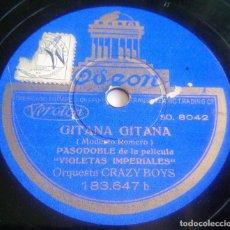 Discos de pizarra: DISCO DE PIZARRA - GITANA, GITANA (PASODOBLE) - DOÑA MARIQUITA (VALS) - PELÍCULA VIOLETAS IMPERIALES. Lote 146461118