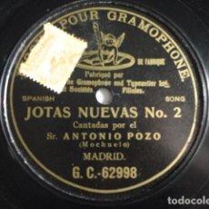 Discos de pizarra: ANTONIO POZO (MOCHUELO) - JOTAS NUEVAS Nº2 - G&T G. C. 62998. Lote 146767718