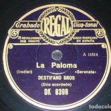 Discos de pizarra: DISCO 78 RPM - REGAL - DUO DESTIFANO BROS - ACORDEON - LA PALOMA - CAVALLERIA RUSTICANA - PIZARRA. Lote 146854202