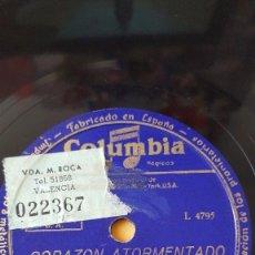 Discos de pizarra: DISCO 78 RPM - COLUMBIA - BING CROSBY - CORAZON ATORMENTADO - MARIA BONITA - PIZARRA. Lote 146863370