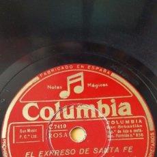 Discos de pizarra: DISCO 78 RPM - COLUMBIA - BING CROSBY - JOHN SCOTT TROTTER - EL EXPRESO DE SANTA FE - PIZARRA. Lote 146864626