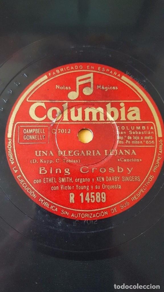 DISCO 78 RPM - COLUMBIA - BING CROSBY - UNA PLEGARIA LEJANA - DE LA NADA - ETHEL SMITH - PIZARRA (Música - Discos - Pizarra - Solistas Melódicos y Bailables)
