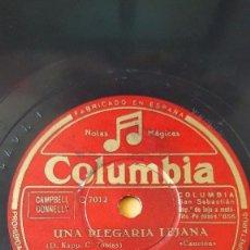 Discos de pizarra: DISCO 78 RPM - COLUMBIA - BING CROSBY - UNA PLEGARIA LEJANA - DE LA NADA - ETHEL SMITH - PIZARRA. Lote 147035102