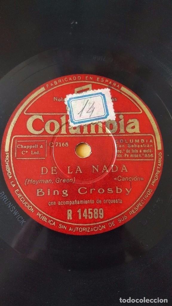 Discos de pizarra: DISCO 78 RPM - COLUMBIA - BING CROSBY - UNA PLEGARIA LEJANA - DE LA NADA - ETHEL SMITH - PIZARRA - Foto 2 - 147035102