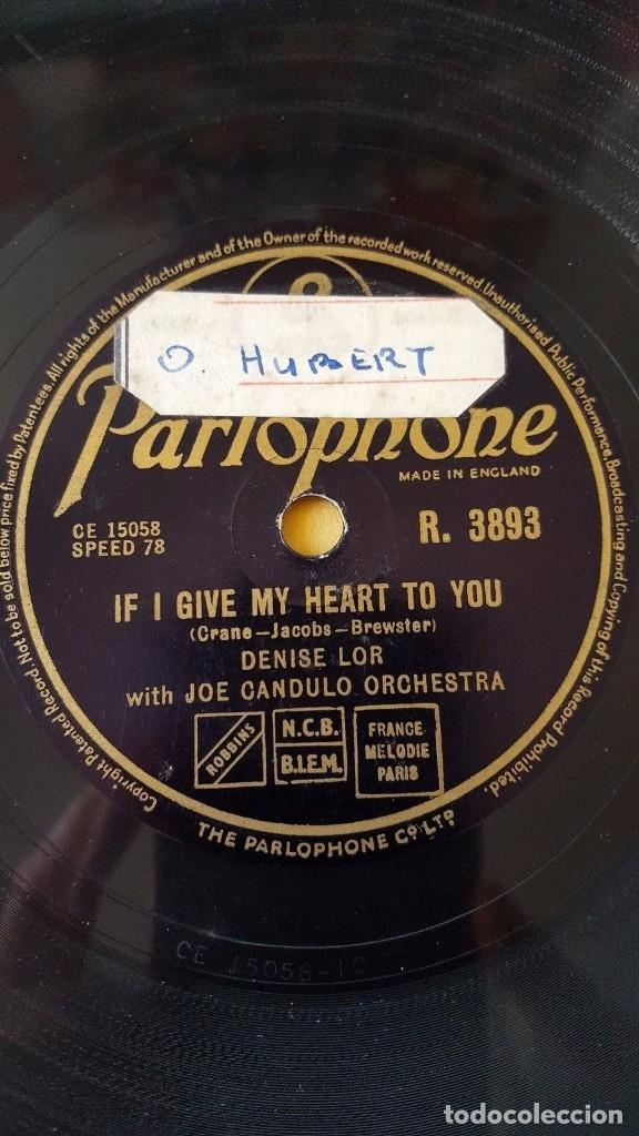 DISCO 78 RPM - PARLOPHONE - DENISE LOR - JOE CANDULO ORQUESTA - IF GIVE MY HEART TO YOU - PIZARRA (Música - Discos - Pizarra - Jazz, Blues, R&B, Soul y Gospel)