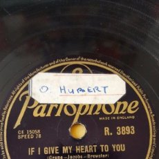 Discos de pizarra: DISCO 78 RPM - PARLOPHONE - DENISE LOR - JOE CANDULO ORQUESTA - IF GIVE MY HEART TO YOU - PIZARRA. Lote 147058106