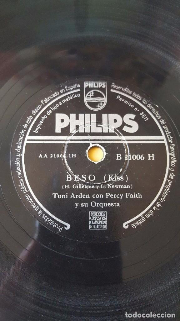 DISCO 78 RPM - PHILIPS - TONI ARDEN - PERCY FAITH - ORQUESTA - BESO - NO ES INQUIETUD - PIZARRA (Música - Discos - Pizarra - Jazz, Blues, R&B, Soul y Gospel)