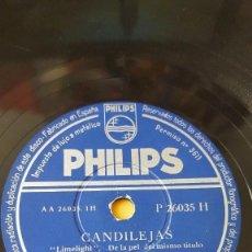 Discos de pizarra: DISCO 78 RPM - PHILIPS - WALLY STOTT - ORQUESTA - FILM CHARLES CHAPLIN - CANDILEJAS - PIZARRA. Lote 147138350