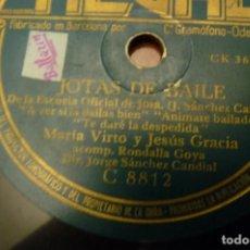Discos de pizarra: JOTAS DE BAILE.- MARIA DEL PILAR DE LAS HERAS - MARIA VIRTO-JESUS GARCIA-ANTONIO ROYO.REGAL -. Lote 147201982